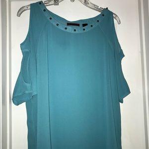 Sheer, Turquoise, Buckle Top